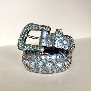 Kippy's Blue Leather Crystal Belt Vintage 32